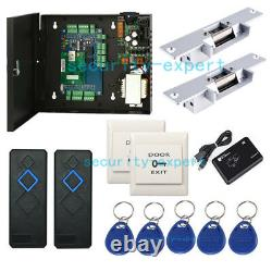 2 Doors Network Access Control Panel AC230V Power Box Strike NO Lock RFID Reader