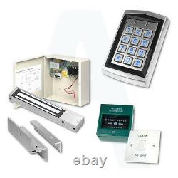 Door Access Control Proximity Kit With Fobs, Magnetic Lock, Keypad, Exit Button