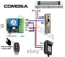 Door Access Control System, Electric Magnetic Lock 600lb, 4 Remote Controls USA
