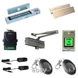 FPC-5046 One Door Access Control 300lbs Inswinging Maglock and Door Closer Kit