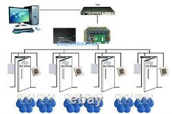 Four-Door TCPIP Access Control Kit with Cabinet/RFID Reader/Exit Button/Key FOBs