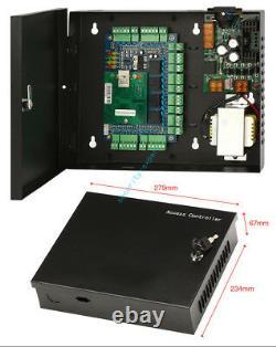 TCP/IP 4 Door Access Control Panel & 230V Power Box Strike NO Lock Keypad Reader