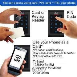 Zemgo Smart WiFi Door Access Control System + App + Keypad/Reader + Strike Lock