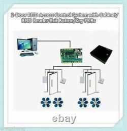 2-porte Rfid Système De Contrôle D'accès Avec Cabinet/rfid Lecteur/keyfobs/bouton De Sortie