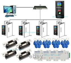 4 Portes Bio Color Screen Fingerprint Access Control Systems Kit Ansi Strike Lock