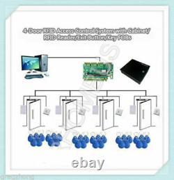 4-porte Rfid Système De Contrôle D'accès Avec Cabinet / Lecteur Rfid / Bouton De Sortie / Clés Fobs
