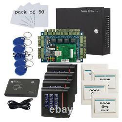 Kit De Panneau De Commande D'accès Rfid Tcp/ip Lecteur De Clavier D'alimentation 230v Pour 4 Portes