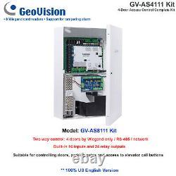 Nouveau Kit De Contrôleur D'accès Professionnel Géovision Gv-as4111k 4 Portes