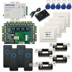 Rfid Entry Access Control Systems Kit For 4 Doors Ansi Strike Lock Power Supply