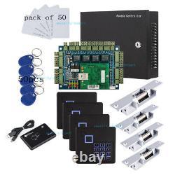 Tcp/ip 4 Panneau De Contrôle D'accès À La Porte Et 230v Power Box Strike No Lock Keypad Reader