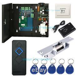 Tcpip 1 Panneau De Contrôle D'accès De Porte Et Ac230v Power Box Rfid Reader Strike No Lock