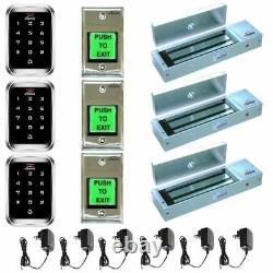 Visionis 5124 Kit De Contrôle D'accès À Trois Portes 1200lbs Maglock Et Clavier Extérieur