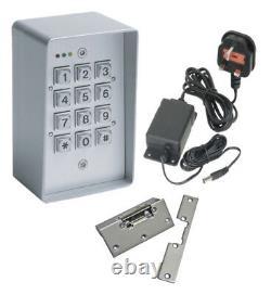 Weatherproof Metal Coded Access Control Door Entry Kit + Psu & Lock Release