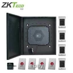 Zkteco -atlas460- Kit Complet De Contrôle D'accès Biométrique /w Fingerprint Reader 4 Porte